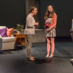 """Marc Carver as Alan, Laura Latreille as Ruth, Lily Flores as Sadie, & Ryan Rudewicz as Claude in """"Utility Monster"""" at WHAT (Photo: Michael & Suz Karchmer)"""