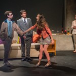"""Ryan Rudewicz as Claude, Marc Carver as Alan, Lily Flores as Sadie, & Laura Latreille as Ruth in """"Utility Monster"""" at WHAT (Photo: Michael & Suz Karchmer)"""